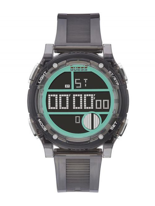 שעון יד דיגיטלי GUESS לגבר עם רצעות סיליקון דגם GW0226G3