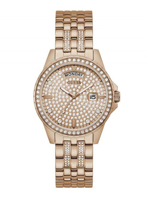 שעון יד GUESS לאישה קולקציית Lady Comet עם רצועת מתכת בצבע רוז-גולד דגם GW0254L3