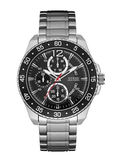 שעון יד GUESS לגבר עם רצועת מתכת קולקציית JET דגם W0797G2