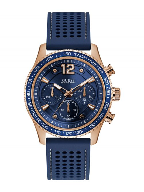 שעון יד GUESS לגבר עם רצועת סיליקון קולקציית FLEET דגם W0971G3