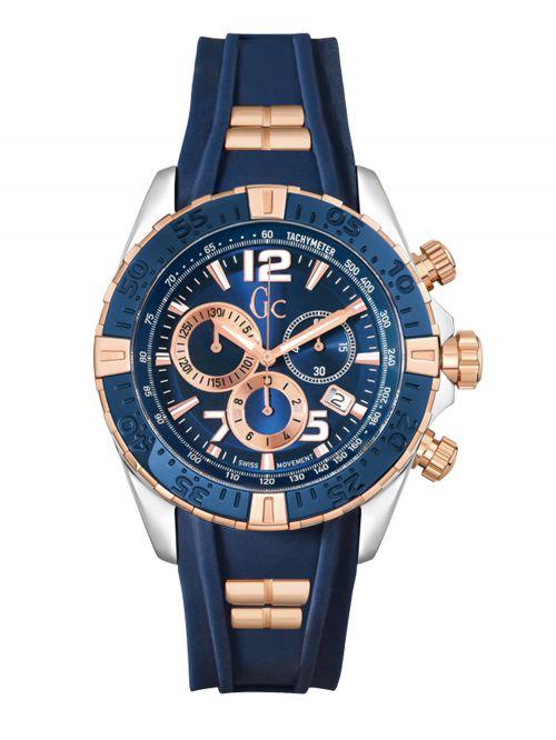 שעון יד שוויצרי GC לגבר עם רצועת סיליקון קולקציית SportRacer דגם Y02009G7