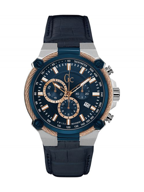 שעון יד GC שוויצרי לגבר עם רצועת עור קולקציית CableForce דגם Y24001G7