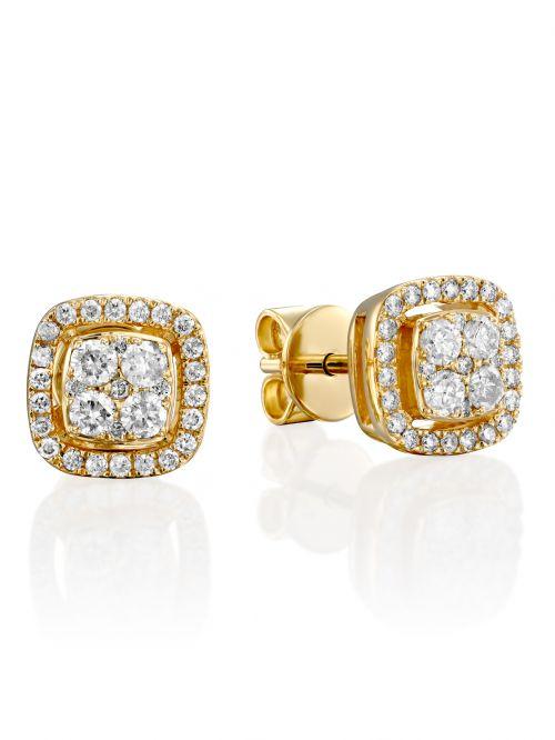 עגיליBELL  זהב 14 קארט  משובצים 62 יהלומים 0.4 קארט G-SI בצורת ריבוע