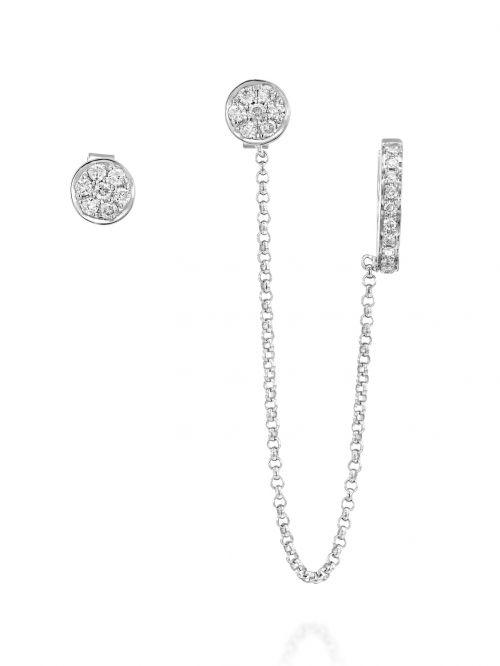 עגילי ANASTHASIA  זהב לבן   14 קארט  34 יהלומים  0.24 קארט  G-SI