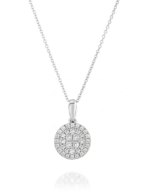 שרשרת זהב לבן ANASTHASIA משובצת יהלומים בצורת עיגול