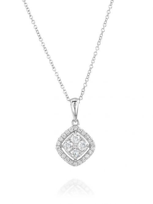 שרשרת  BELL זהב לבן 14 קארט משובצת 31 יהלומים 0.13 קארט בצורת ריבוע G-SI