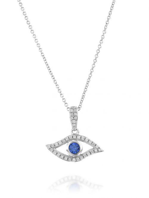 תליון מזהב לבן  14 קארט 39 יהלומים 0.12 קארט G-SI בצורת עין עם אבן  רוסיאן