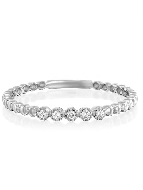 טבעת NAOMI זהב לבן 14קראט משובצת 5 יהלומים 0.05 קראט G-SI