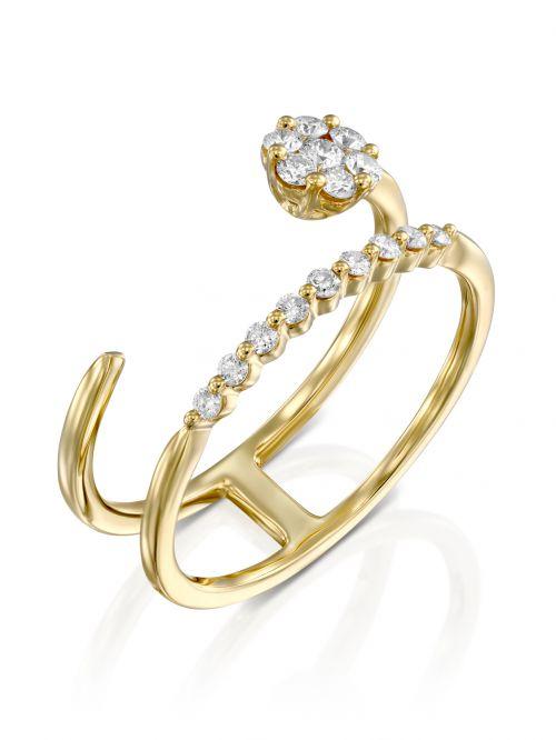 טבעת פרח זהב CECILE משובצת יהלומים