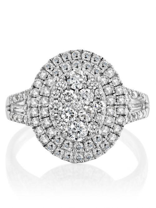 טבעת זהב לבן DIANA   משובצת יהלומים