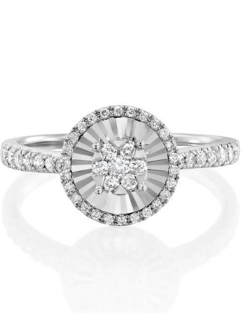 טבעת זהב לבן JACKIE   משובצת יהלומים
