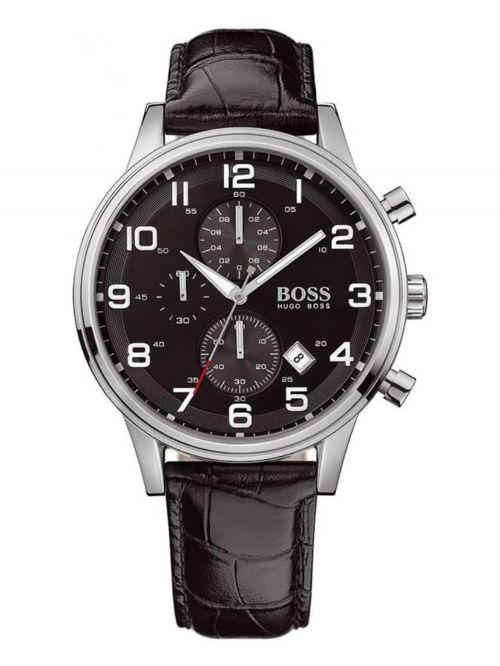 שעון יד HUGO BOSS לגבר עם רצועת עור קולקציית AEROLINER דגם 1512448