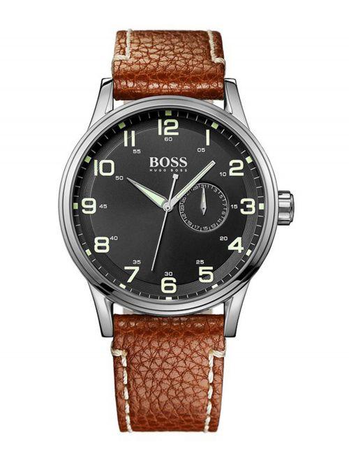 שעון יד HUGO BOSS לגבר עם רצועת עור קולקציית AEROLINER דגם 1512723