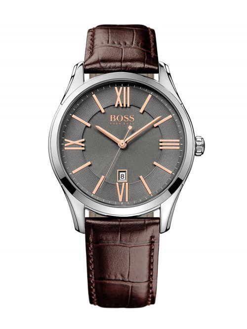 שעון יד HUGO BOSS לגבר עם רצועת עור קולקציית Ambassador דגם 1513041