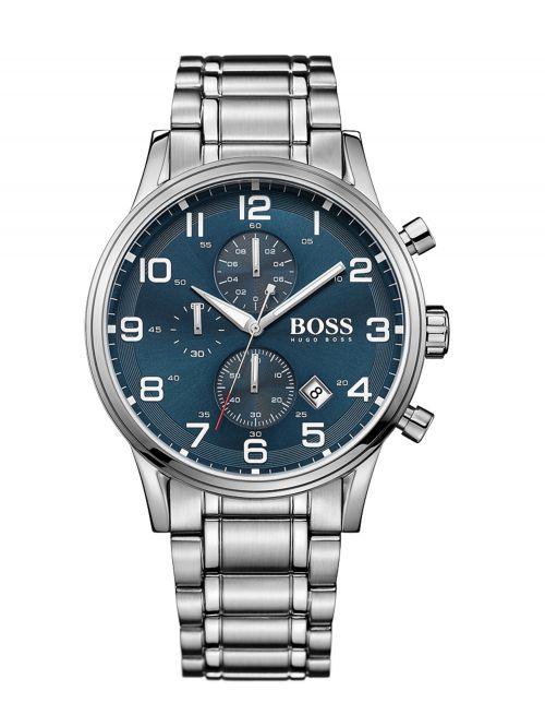 שעון יד HUGO BOSS לגבר עם רצועת מתכת קולקציית AEROLINER דגם 1513183