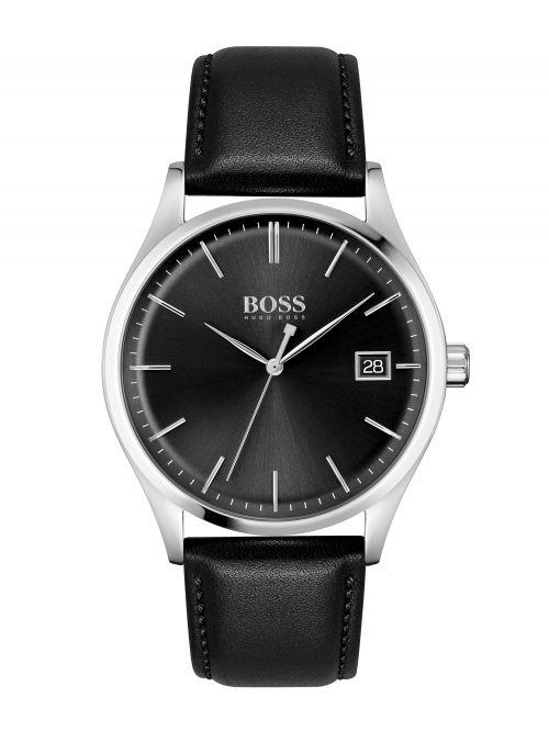 שעון יד לגבר HUGO BOSS רצועת עור שחורה דגם 1513831