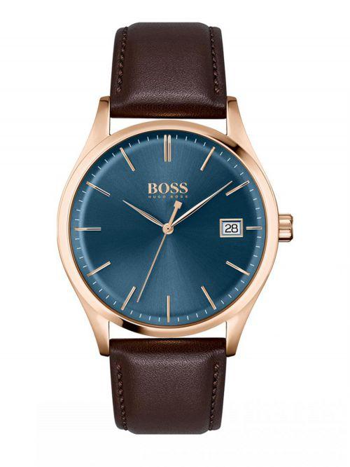 שעון יד HUGO BOSS לגבר עם רצועת עור צבע חום קולקציית  COMMISSIONER דגם 1513832