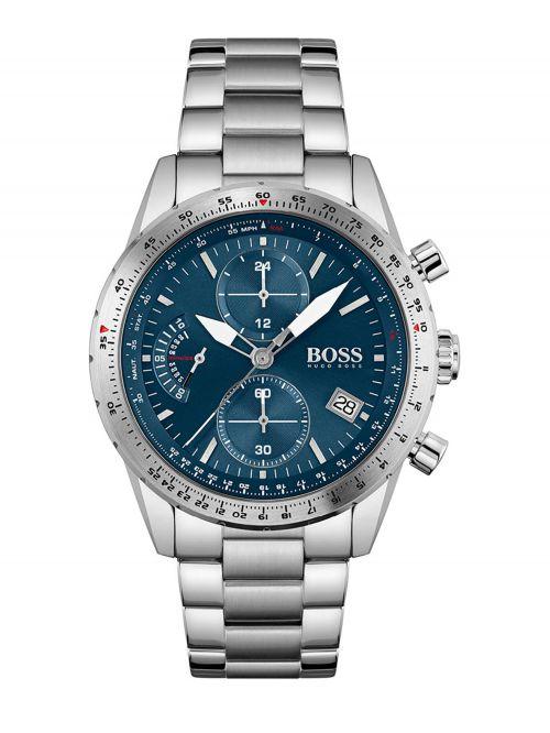שעון יד HUGO BOSS לגבר צבע כסף קולקציית PILOT דגם 1513850