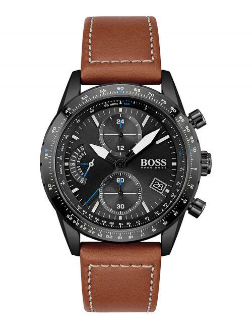 שעון יד HUGO BOSS לגבר עם רצועת עור צבע חום קולקציית PILOT דגם 1513851