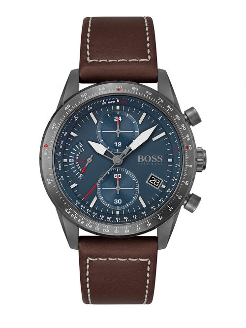 שעון יד HUGO BOSS לגבר עם רצועת עור צבע חום קולקציית PILOT דגם 1513852