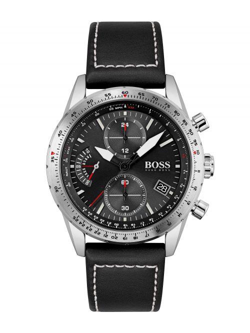 שעון יד לגבר HUGO BOSS רצועת עור שחורה דגם 1513853