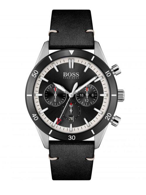 שעון HUGO BOSS לגבר עם רצועת עור  בצבע שחור קולקציית  SANTIAGO דגם 1513864