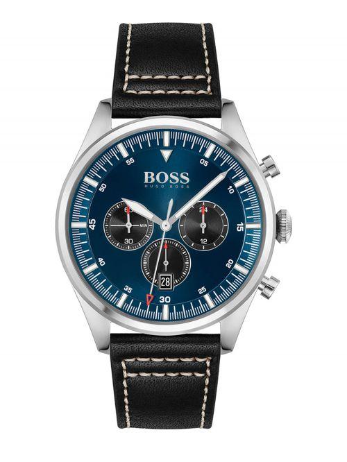 שעון HUGO BOSS לגבר עם רצועת עור  בצבע שחור קולקציית  PIONEER דגם 1513866