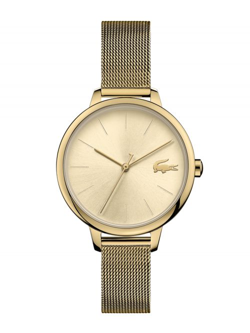 שעון יד LACOSTE לאישה עם רצועת מתכת בצבע זהב דגם 2001128