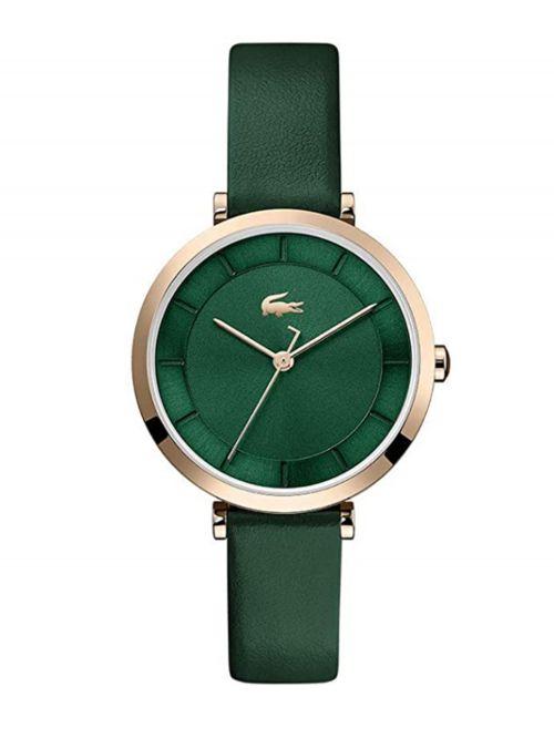 שעון יד LACOSTE לאישה רצועת עור בצבע ירוק קולקציית GENEVA דגם 2001138