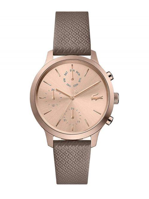 שעון יד LACOSTE לאישה עם רצועת עור בצבע אפור חום דגם 2001150