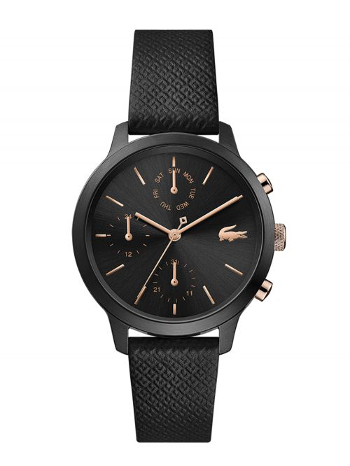 שעון יד LACOSTE לאישה רצועת עור בצבע שחור דגם 2001153