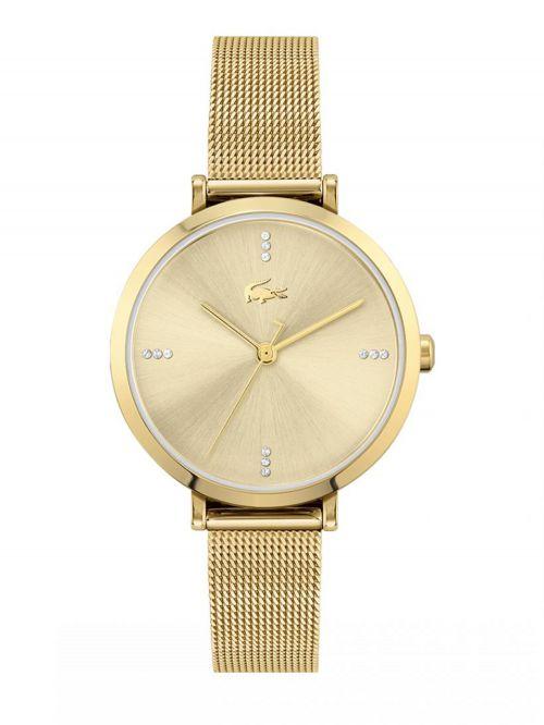 שעון יד LACOSTE לאישה עם רצועת מתכת בצבע זהב דגם 2001166