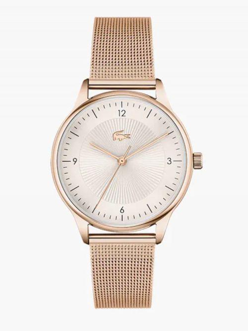 שעון יד LACOSTE לאישה קולקציית LACOSTE CLUB עם רצועת מתכת בצבע זהב אדום דגם 2001170