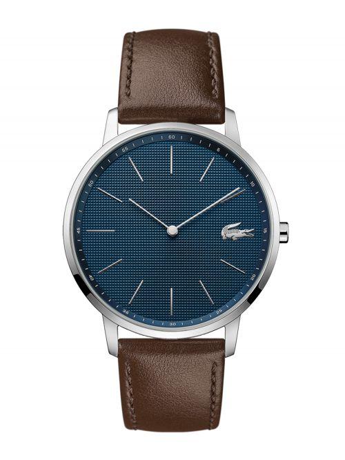 שעון יד גברים LACOSTE עם רצועת עור חומה דגם  2011003