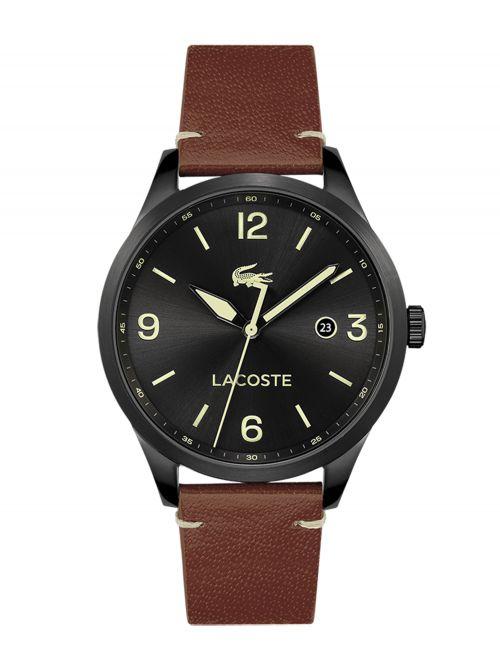 שעון יד LACOSTE לגבר עם רצועת עור קולקציית TRAVELER דגם 2011106