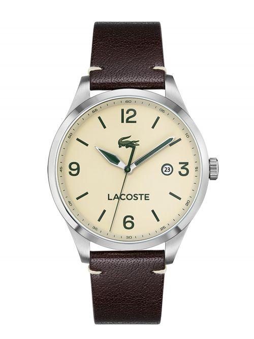 שעון יד LACOSTE לגבר עם רצועת עור בצבע חום דגם 2011107