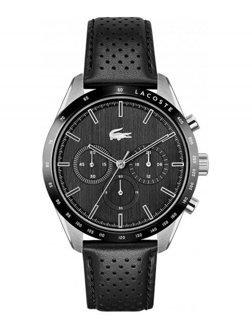 שעון יד LACOSTE לגבר קולקציית BOSTON רצועת עור בצבע שחור דגם 2011109