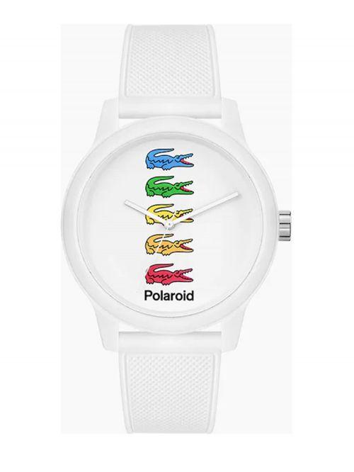 שעון יד לגבר Lacoste רצועת סיליקון צבע לבן דגם LAC-2011130