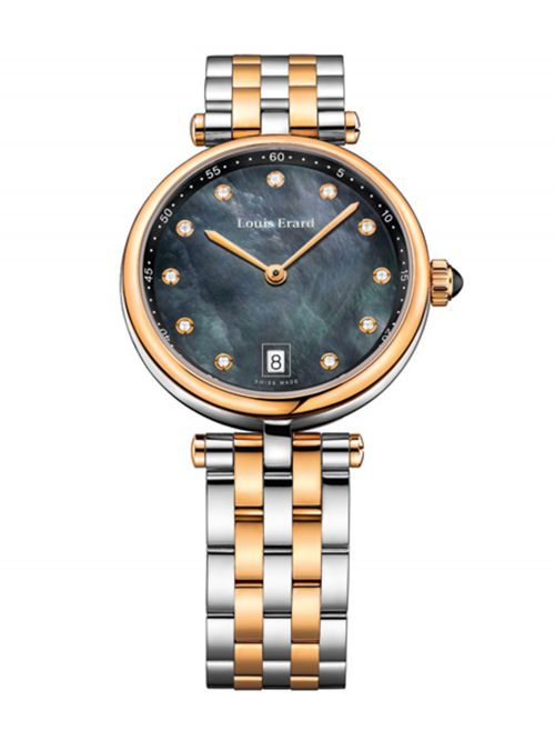 שעון יוקרה שווייצרי LOUIS ERARD לאישה עם שיבוץ יהלומים