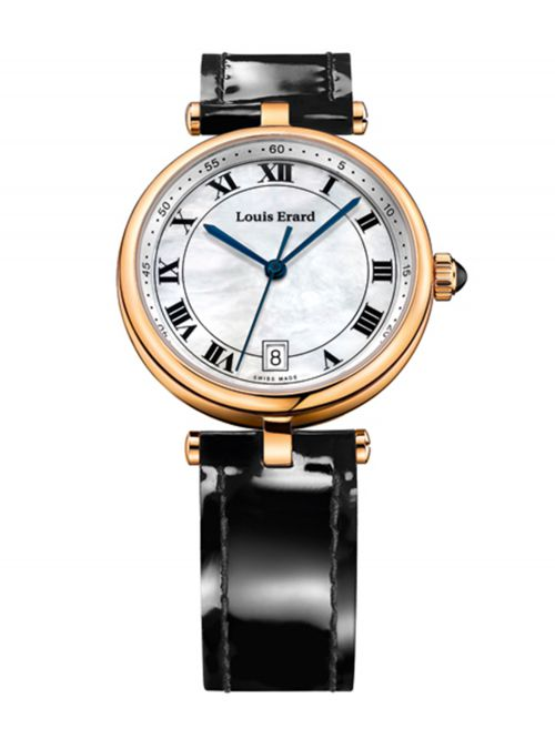 שעון יוקרה שוויצרי LOUIS ERARD לאישה עם רצועת עור דגם LE-11810PR04.BRCB7