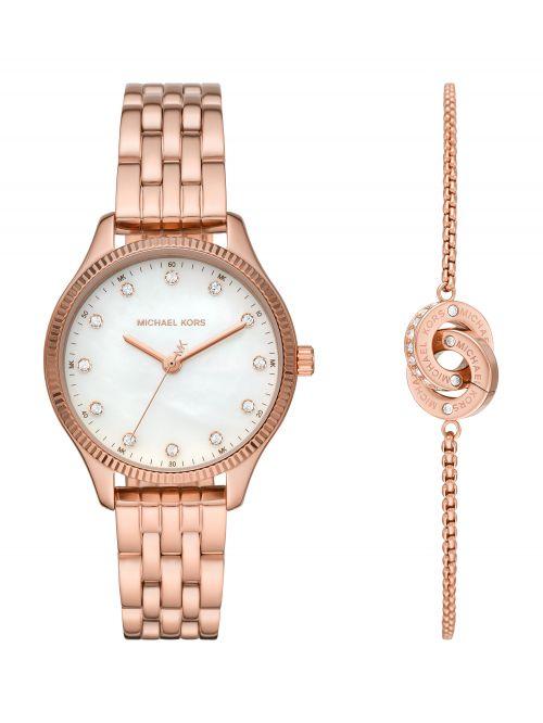 סט שעון יד וצמיד MICHAEL KORS לאישה סדרת LEXINGTON דגם MK1025