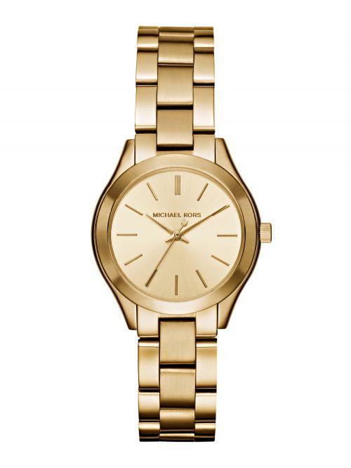שעון MICHAEL KORS לאישה בצבע זהב קולקציית SLIM RUNWAY דגם MK3512