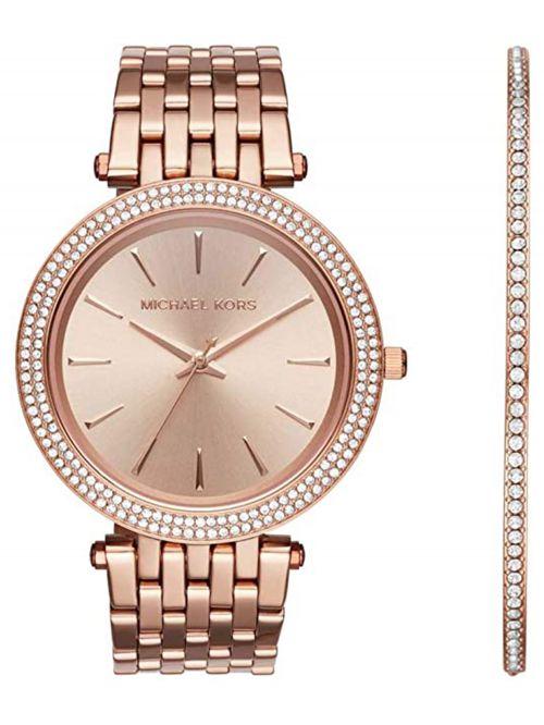 סט שעון וצמיד MICHAEL KORS לאישה בצבע רוז-גולד דגם MK3715