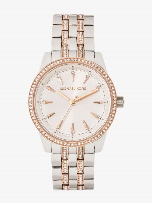 שעון יד MICHAEL KORS לאישה עם רצועת מתכת בצבע כסוף ורוז-גולד דגם MK4386
