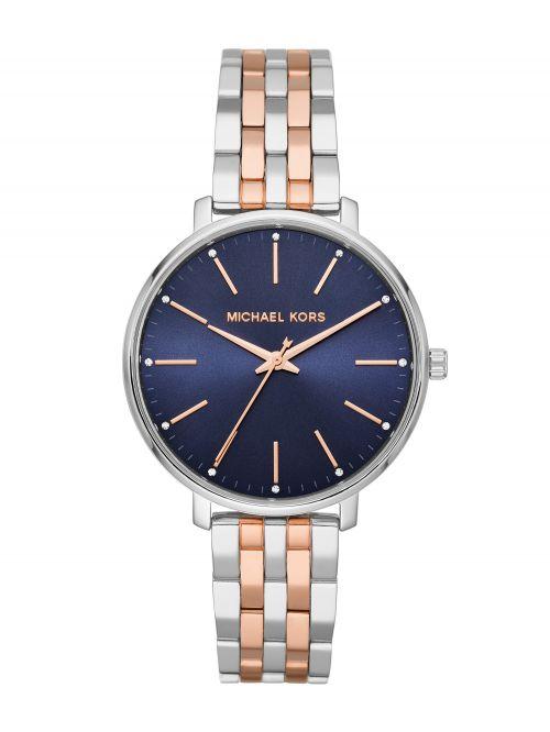 שעון יד MICHAEL KORS לאישה עם רצועת מתכת בצבע כסוף ורוז-גולד דגם MK4547