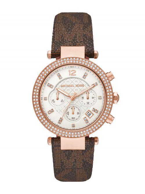 שעון יד MICHAEL KORS לאישה קולקציית PARKER עם רצועת עור דגם MK6917