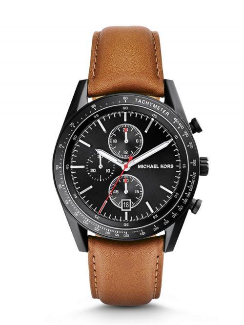 שעון יד גברים MICHAEL KORS רצועת עור חומה דגם MK8385