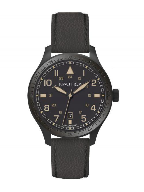 שעון יד NAUTICA לגבר עם רצועת עור דגם A11107G