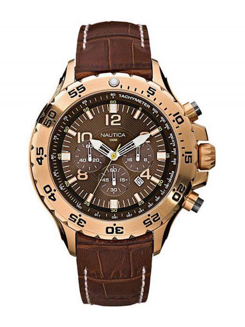 שעון יד NAUTICA כרונוגרף לגבר עם רצועת עור דגם N18522G
