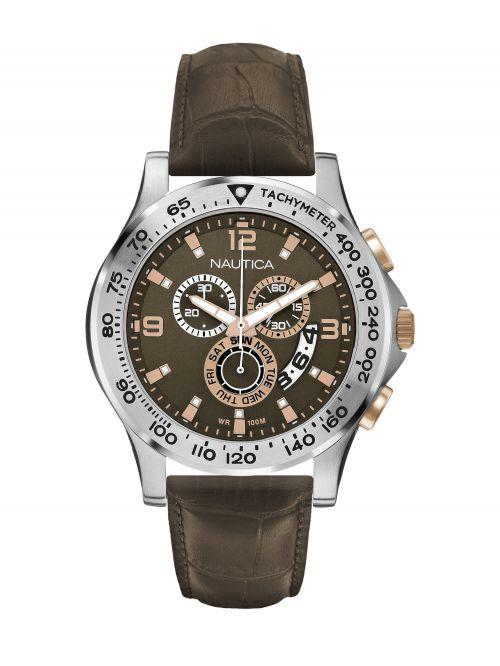 שעון יד NAUTICA לגבר עם רצועת עור דגם NAI19503G